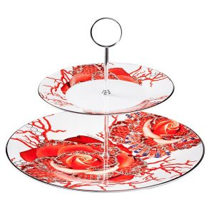 Roser Jewel 2-Level Tea Stand Riser - Luxury Tableware by Roberto Cavalli Home