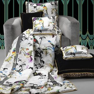 Image of Roberto Cavalli Bird Ramage Silk Cushion
