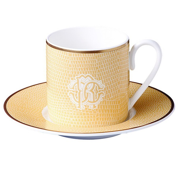 Image of Roberto Cavalli Lizzard Gold Coffee Cup & Saucer