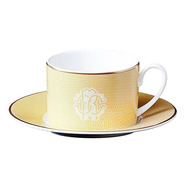 Image of Roberto Cavalli Lizzard Gold Tea Cup & Saucer