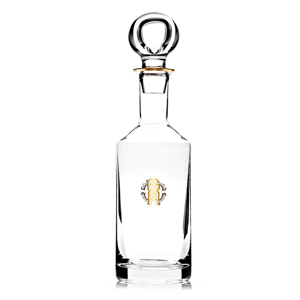 Image of Roberto Cavalli Monogramma Gold Decanter