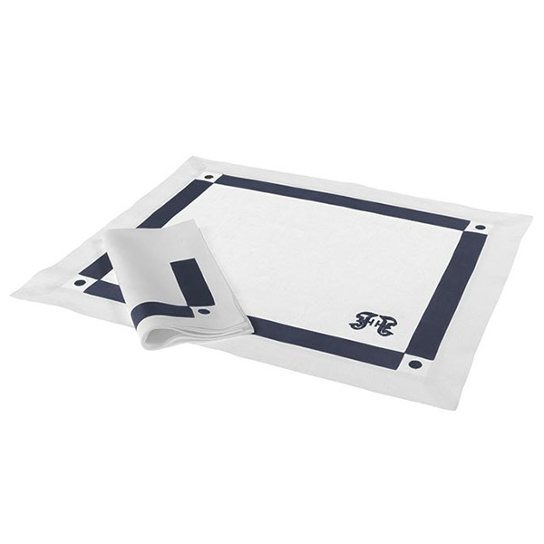 Image of Gianfranco Ferre Navy Placemat Serviette Set