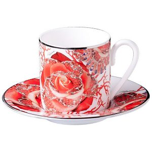 Image of Roberto Cavalli Rose Jewel coffee cup & saucer