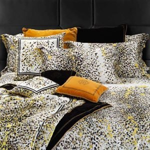 Image of Roberto Cavalli Scamuskin Quilted Bedspread in Yellow